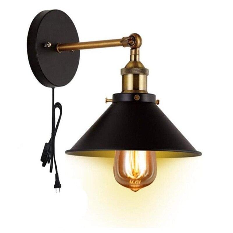 Retro Wall Sconce 1 Light Fixture UL Plug In Cord Lightinge Industrial Loft  Wall Lamp For Bathroom Dining Room  Bedroom Light