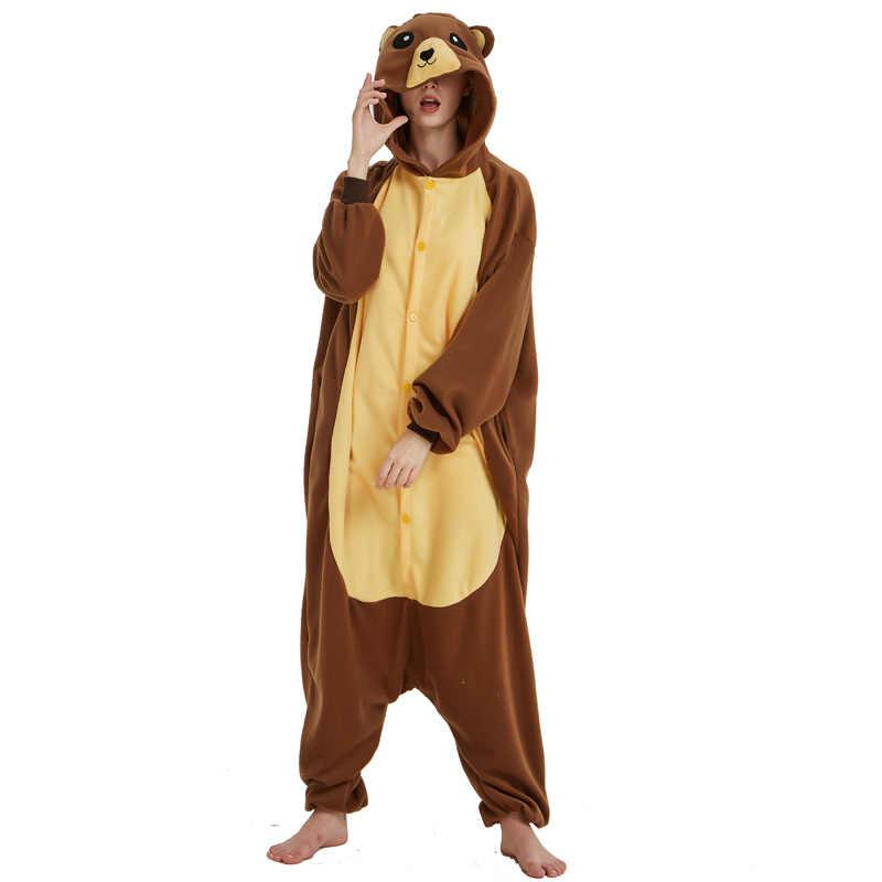 Забавный Бурый Медведь Пижама кигуруми Для женщин комбинезон для Пижама для  взрослых 546335dbd2764