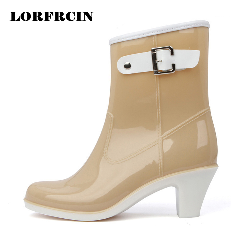 Rain Boots Women Waterproof Shoes Ankle Rubber Boots High Heel Rainboots Plus Size Botines Mujer Femininas Botas De Lluvia 2018