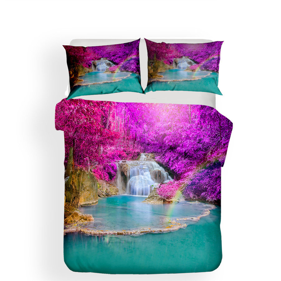Image 2 - Bedding Set 3D Printed Duvet Cover Bed Set Forest waterfall Home Textiles for Adults Bedclothes with Pillowcase #SL07-in Bedding Sets from Home & Garden