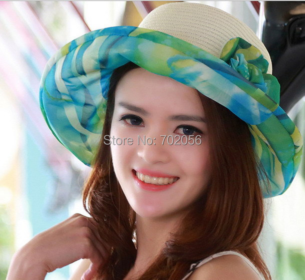 8eac888f9079e women straw Floppy Brim Summer Beach Sun Straw Beach Derby Hat Cap 4colors   3861
