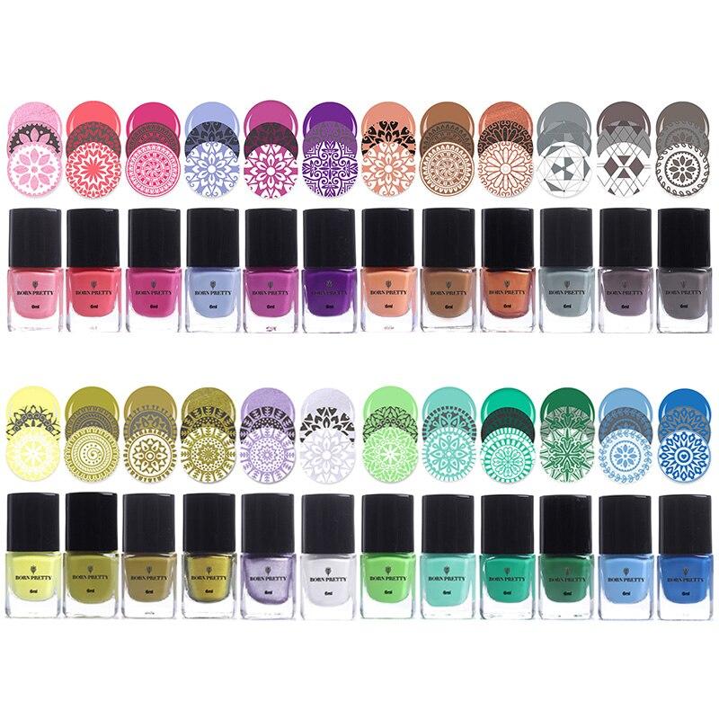 BORN PRETTY 15ml 6ml Pure Nail Colors Nail Art Stamping Polish Sweet Style Nail Stamping Polish 72 Colors Available Nail Polish in Nail Polish from Beauty Health