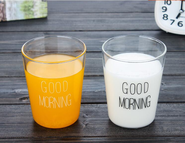 2018 Japanese-style breakfast milk cup glass cup creative child Good morning coffee cup beverage cup juice free shipping LH793