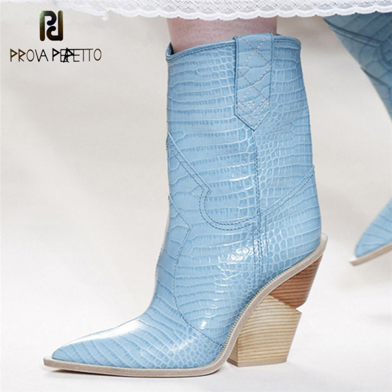Prova Perfetto Runway Shoes Cowboy Boots For Women Pointed Toe Western Boots Genuine Leather Mid-calf Boots Chunky Wedges Boots blue yellow snake skin women boots 2018 pointed toe western boots cowboy boots runway design chunky wedges heel mid calf boots