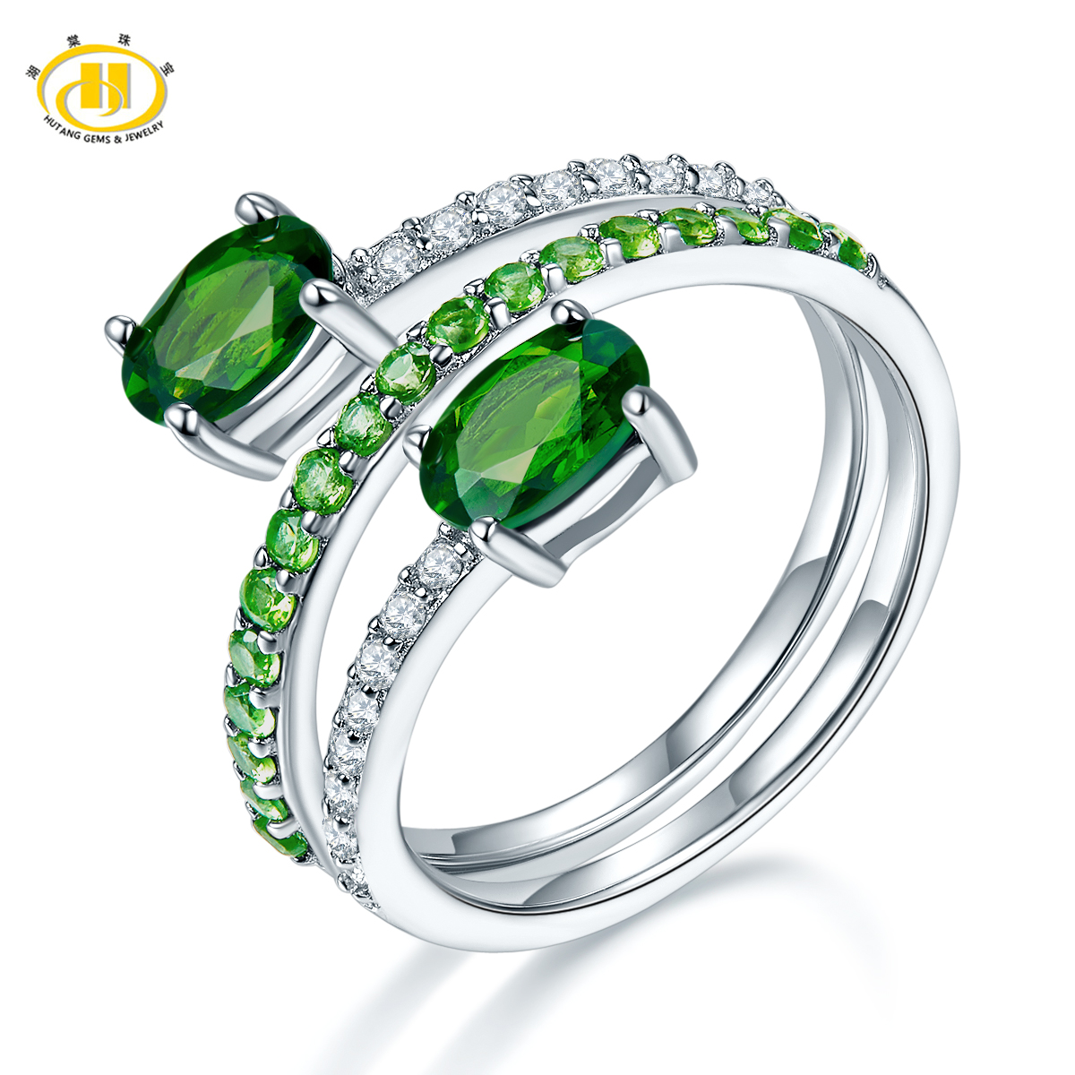 Hutang By Pass Ring Natural Chrome Diopside Genuine 925 Sterling Silver Gemstone Fine Jewelry for Women Christmas Gift 2018