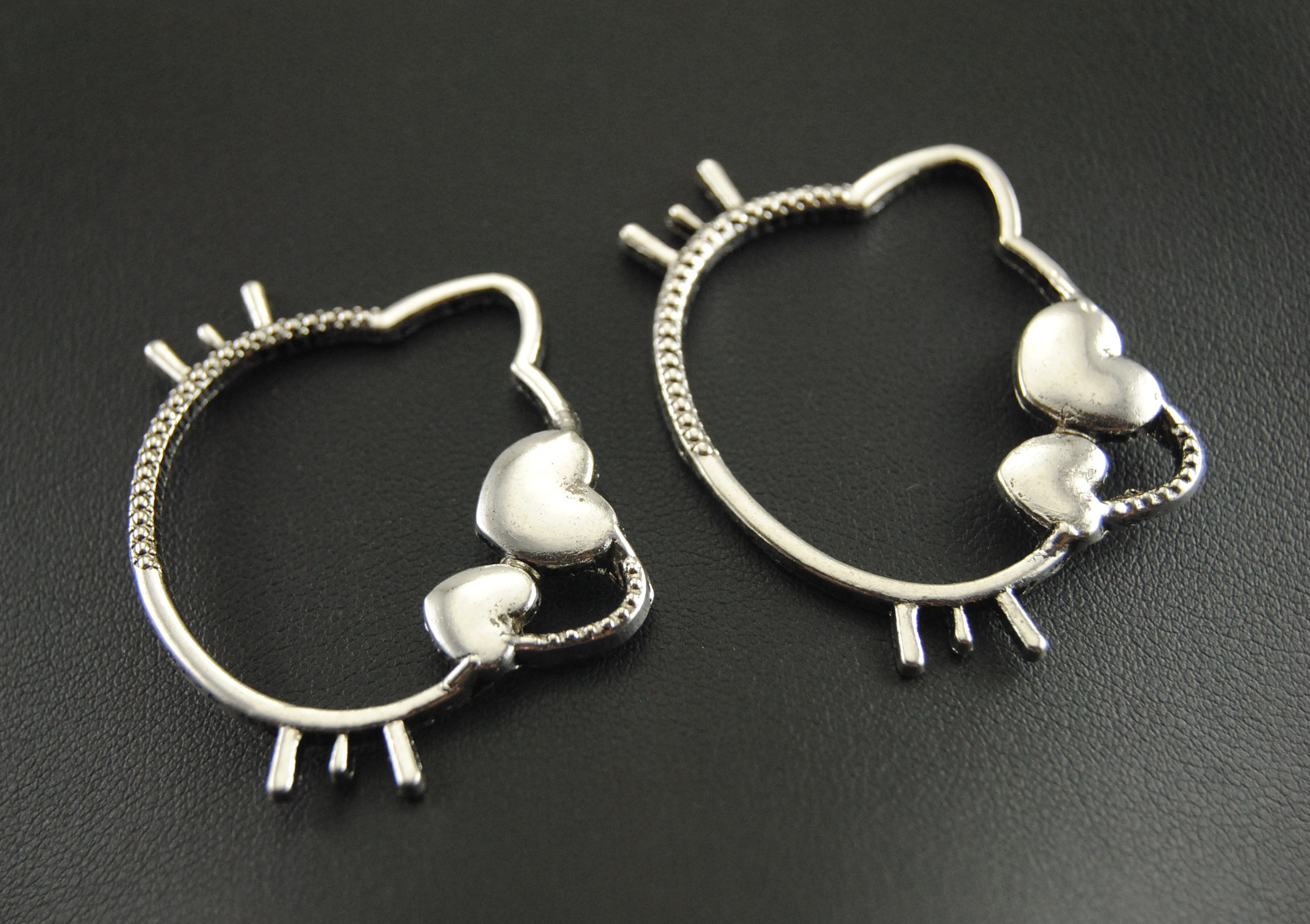 5 Pcs  Silver Color Kitty Cat Charm Connectors  Jewelry  Making DIY Handmade Craft  45x35mm A347