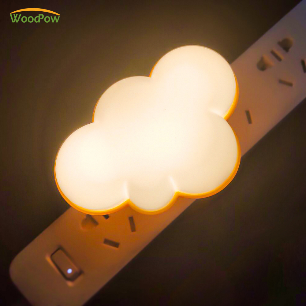 WoodPow Light Sensor Control Night Light Cloud Shape EU US Plug Novelty Children's Night Lamp For Baby Room Gift Illuminator