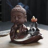 Buddha Incense Burner Smoke Waterfall Backflow Incense Burner Buddha Hand Ceramic Incense Holder Censer With 10pcs Incense Cones
