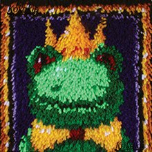 Crocheting Rug Yarn Pillowcase latch hook rug kits Cross-stitch Embroidery Set frog needlework Cushion Mat craft kits for adults(China)