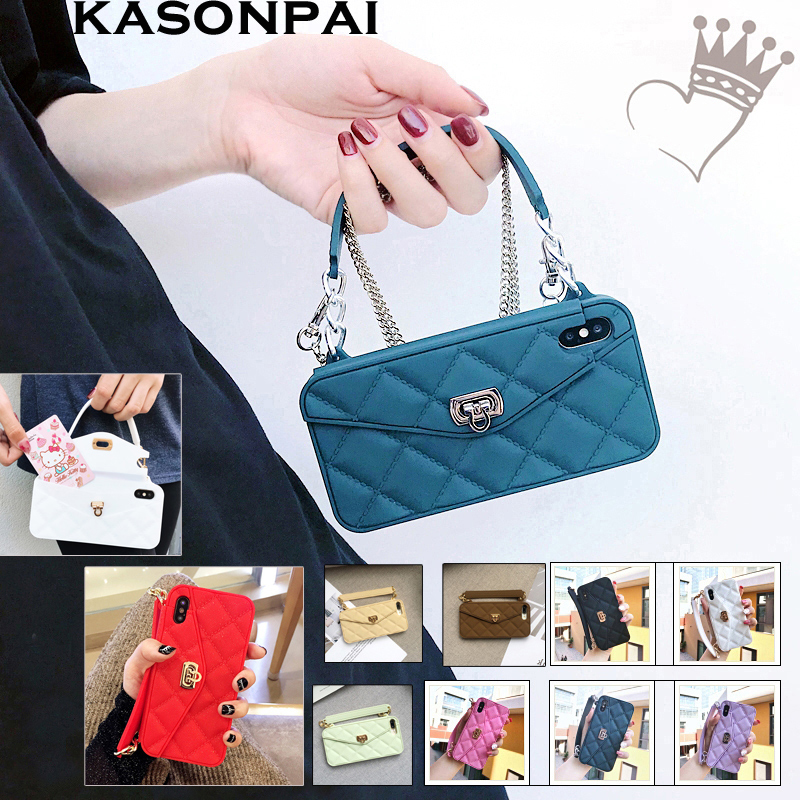 KASONPAI Luxury Wallet Card Soft Silicon Phone Case Cover For iPhone Xs Max  XR X 6S 7 8 Plus Women Handbag Cases With Long chain 845ef5e24400