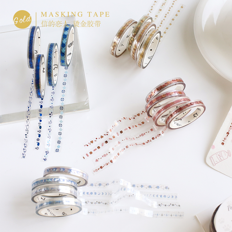 Cute Candy Colors Bullet Journal Slim PET Washi Tape Set Adhesive Tape DIY Scrapbooking Sticker Label Transparent Masking Tape