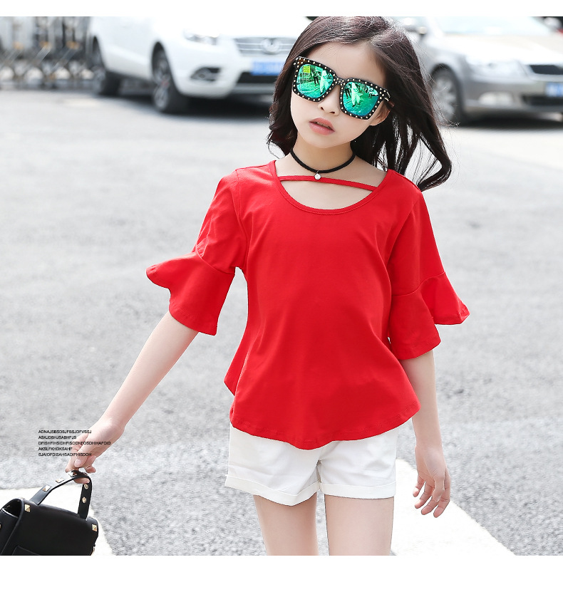 2017 Top Brand Fashion Cute Summer Girl Dress Flare Sleeve Yellow Red Shirt White Pant Age 6-14 Years High Quality Children Set
