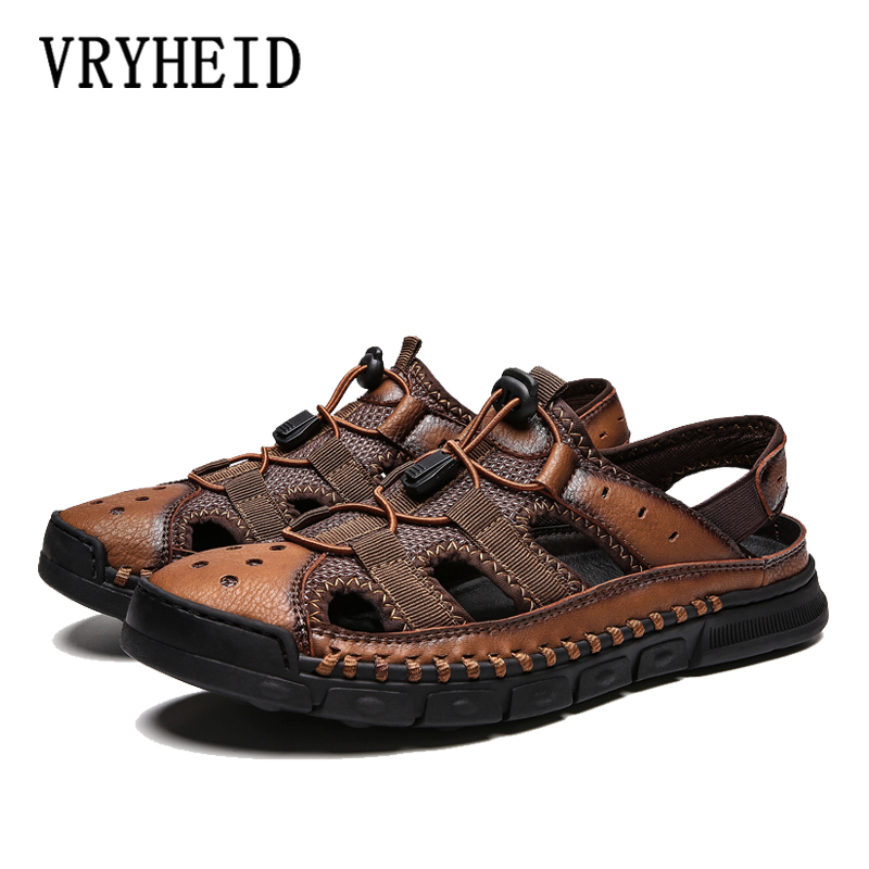 VRYHEID Brand Classic Men Soft Sandals Comfortable Non-Slip Men Summer Leather Sandals Roman Men beach shoesCasual Big Size38-46(China)