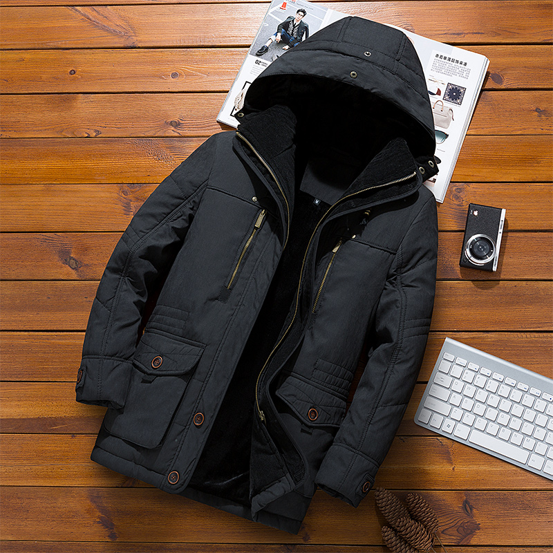 Brand Clothing Winter New   Parkas   Men Coat Long Section Casual Men's Cotton Jacket Hooded Padded Jacket Male Hat Detachable Plus
