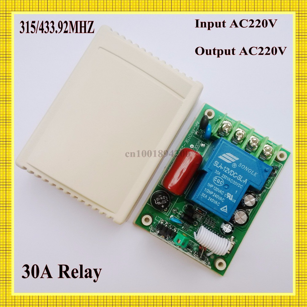 AC 220V 30A Relay Receiver Remote Control Switch 315/433mhz learning code ASK Smart Home B*roadlink TX Receiver Light Lamp LED ...