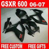 100 Brand New Fairings For Body 2006 2007 SUZUKI ABS Plastic All Flat Black GSXR 600