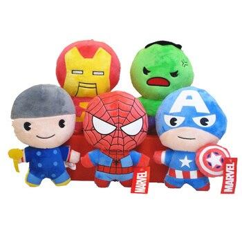 Disney 10CM 5/pcs Dolls  Stuffed Toys  Marvel Avengers Spider-Man Plush Toys Captain America Dolls Toy for children недорого