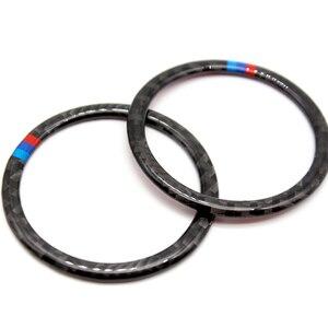 Image 2 - Para BMW X5 X6 F15 F16 2014 2015 2016 2017 2018 Puerta de fibra de carbono Real Audio altavoz anillo pegatina altavoz cubierta