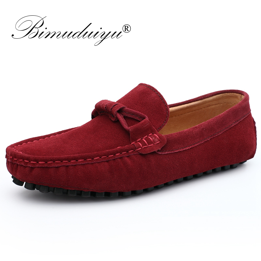 BIMUDUIYU New 2018 Men Cow Suede Leather Loafers Slip on Men Casual Shoes Comfortable Breathable Driving Moccasins Boat Shoes cbjsho brand men shoes 2017 new genuine leather moccasins comfortable men loafers luxury men s flats men casual shoes