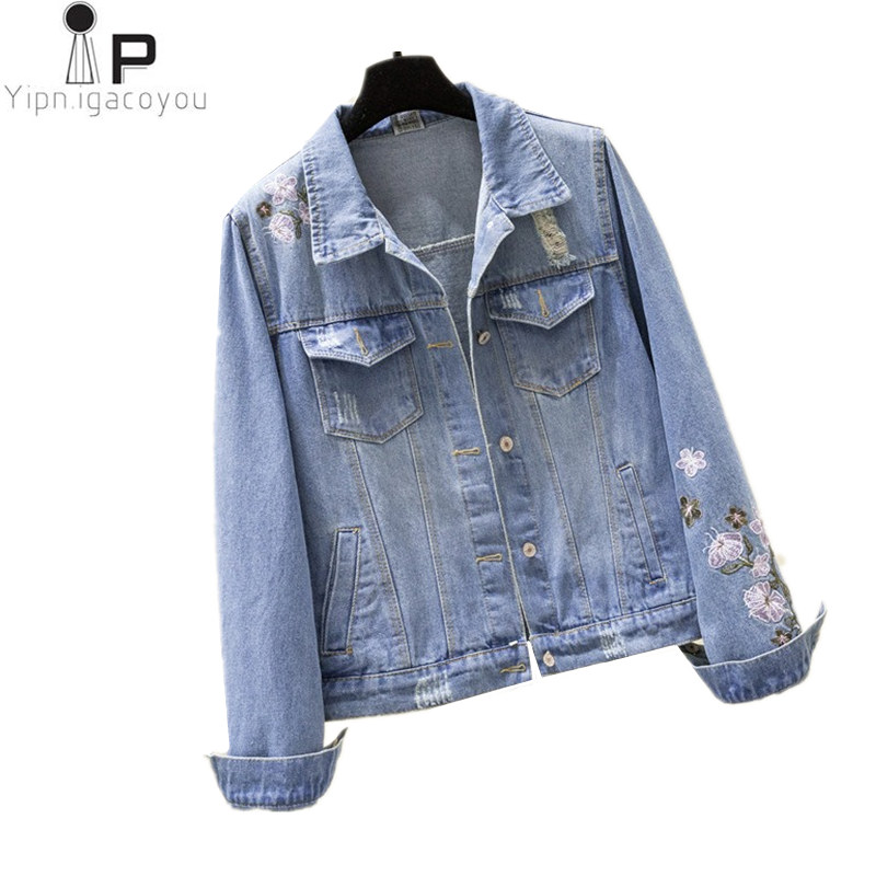 Autumn Embroidery Jeans   Jacket   Women Outerwear Vintage Plus Size Holes Denim   Jacket   Women Coat Spring Harajuku Female   Basic   Coat