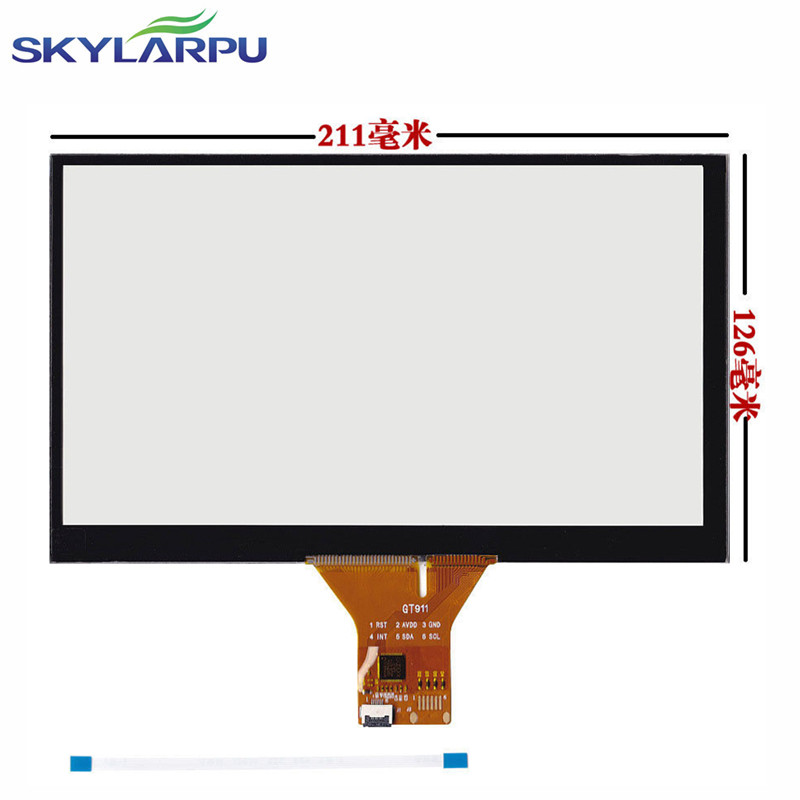 skylarpu 9 Capacitive Touch Panel 211*126mm for 1024x600 GPS Android Handwriting Screen Screen touch panel Glass Free shipping
