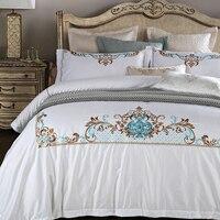 100% длинноволокнистый хлопок вышивка постельные принадлежности шелковое постельное белье пододеяльник + простыня + наволочка король queen Раз
