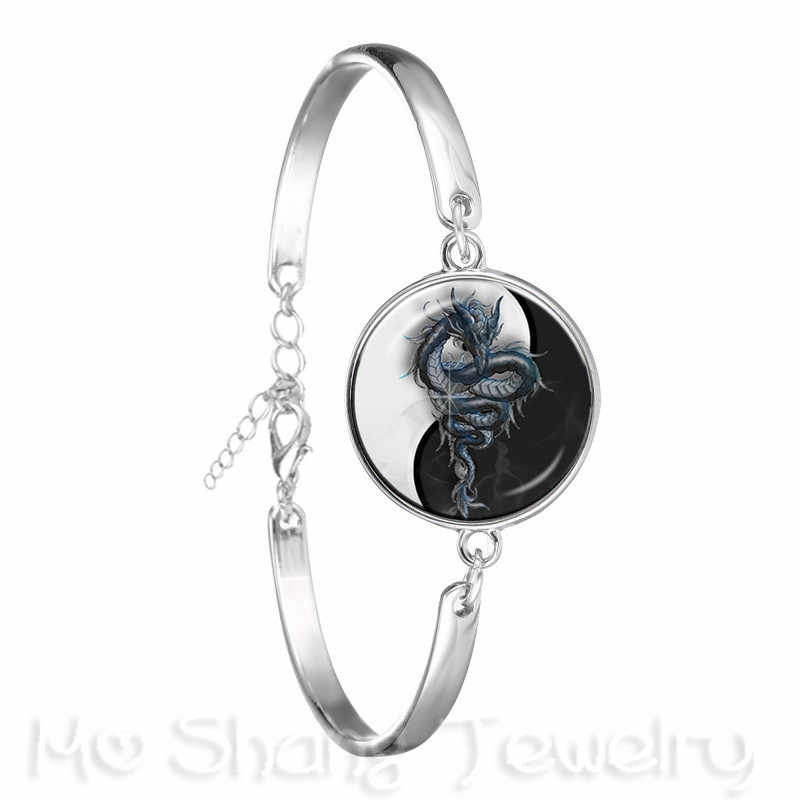 Два дракона Инь Ян браслет со стеклянным кулоном символ ювелирные изделия натуральный деревенский мода символизирующий гармонию браслет Удачи ювелирные изделия