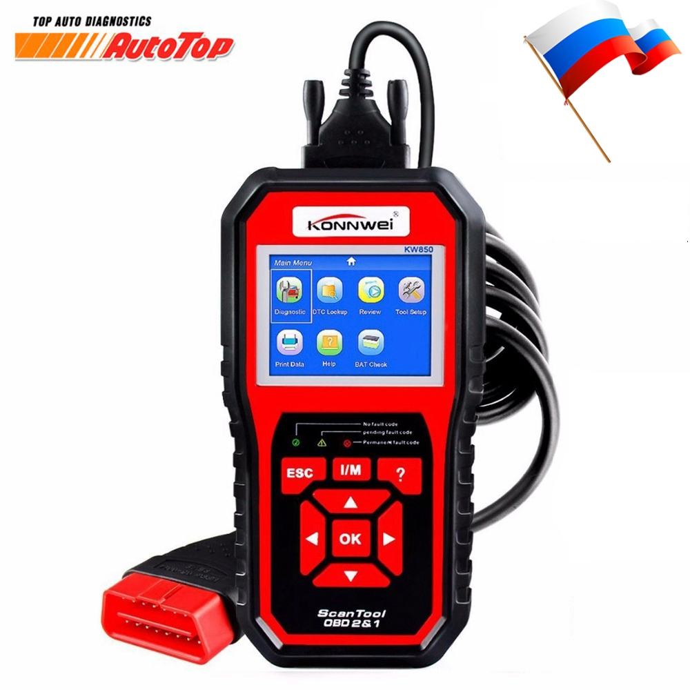 2018 OBD 2 OBD2 Automotive Scanner KONNWEI KW850 Multi-languages Autoscanner Auto Diagnostic Tool Better Than AL519 NT301 AD410