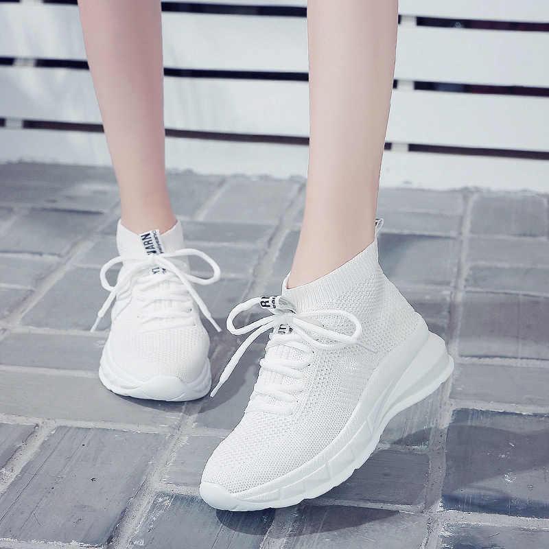 2019 High Top Mesh Platform Female Sneakers Gym Walking Jogging Footwear Women Tennis Shoes Tenis Feminino Chaussure Femme Sport