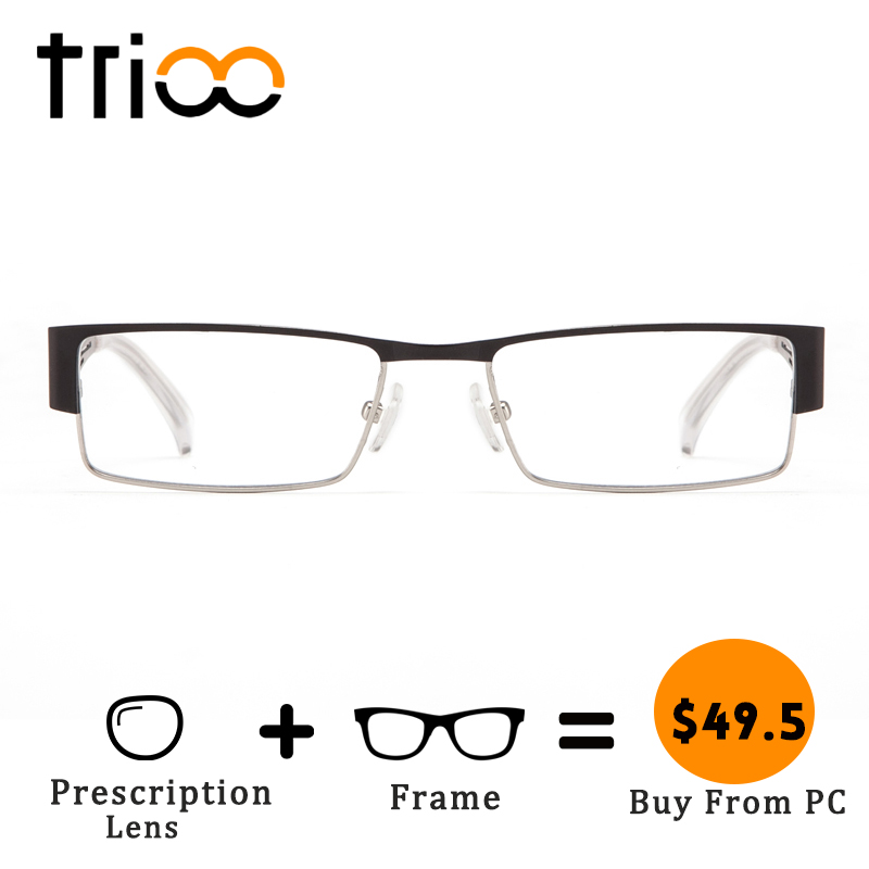 TRIOO Technology Style Mens Glasses with Prescription Lens Quality Metal Spectacles Square Semi Rimelss Myopia Eyeglasses Men