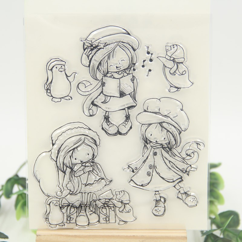счастливая девушка прозрачный силиконовый штамп/печать для DIY и скрапбукинг/фотоальбом декоративные ясно печать листов