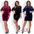Новый 5XL 6XL Большой Размер 2017 Весна Dress Большой Размер Бархат Dress Синий Красный Черный Прямые Платья Плюс Размер Женская Одежда Vestidos