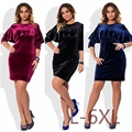 New 5XL 6XL Large Size 2017 Spring Dress Big Size Velvet Dress Blue Red Black Straight Dresses Plus Size Women Clothing Vestidos