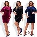 Nova 5xl 6xl tamanho grande 2017 primavera dress tamanho grande de veludo dress vestidos plus size roupas femininas vestidos azul vermelho preto em linha reta