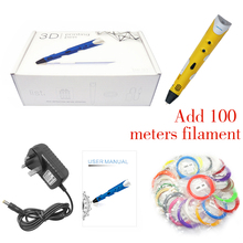 2016 DEWANG Free shipping orange 3d rubber printer pen with 20colors 5mPLA filament retractable for kids gifts EU/AU/US/UK plug  цены