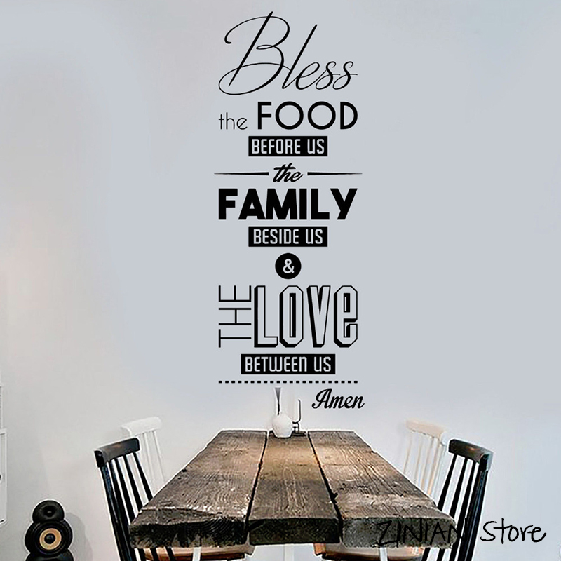 Bless the Food Prayer Quote Wall Decals Dining Room Decoration Kitchen Stickers Art Mural For Living Room Home Window Decor H277