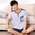 2016 New Summer Men's short-sleeved cotton pajamas summer cartoon cotton Plus size pajamas set 009