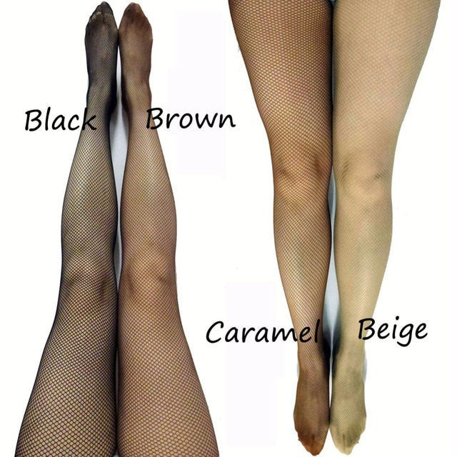 d8a9972f533 LIMSISNIW No Pattern Women Plain Nylon Fishnet Tights Small Holes Fitted  Dancing Seamless Pantyhose Black Caramel