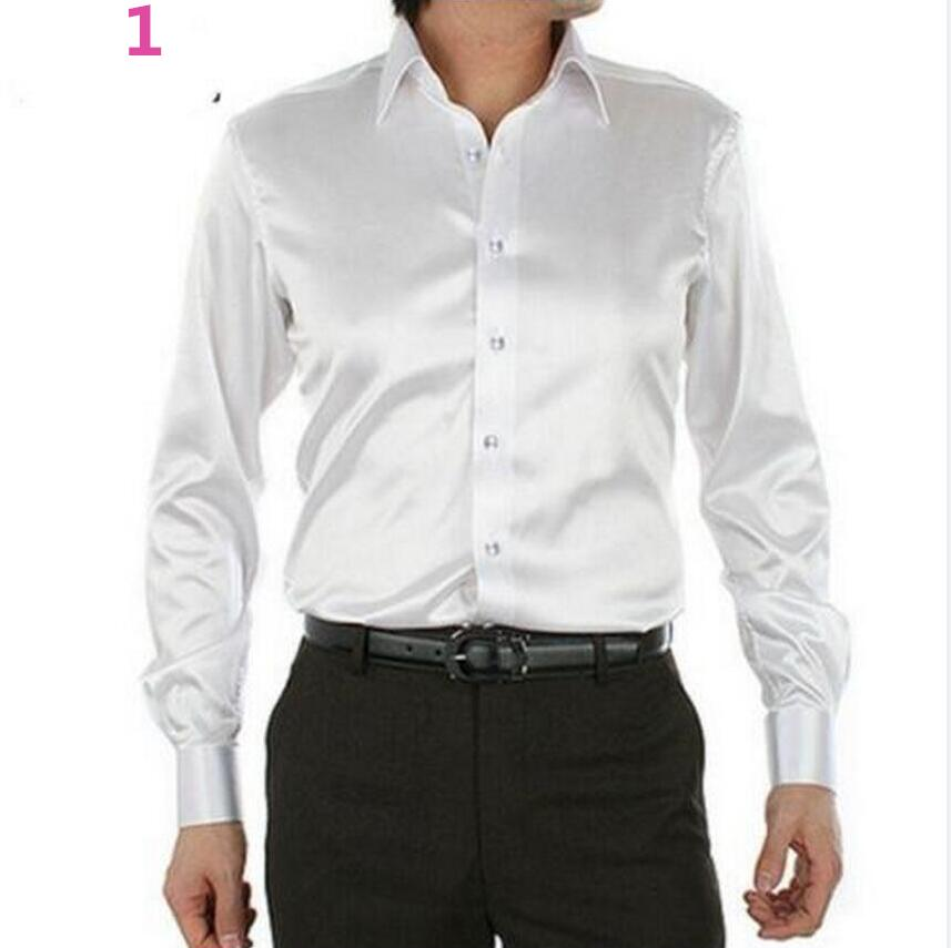 2016 Men s Dress Shirt Custom Casual Suits Silk Satin Long sleeve Casual shirts Stylish Groom Shirts