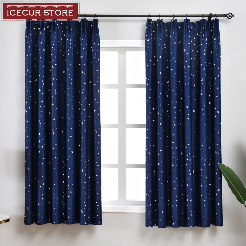 ICECUR Shiny Silver Stars Blackout Curtains For Kids Child Bedroom Korean Style Window Voile Tulle Curtains For Living Room