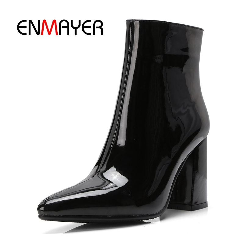 ENMAYER Women Ankle Boots for Women High Heel Pointed Toe Autumn Winter Shoes Woman Size 32
