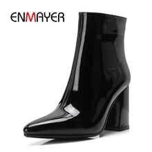 цена на ENMAYER Women Ankle Boots for Women High Heel Pointed Toe Autumn Winter Shoes Woman Size 32-43 Square Heel Patent Leather CR1386