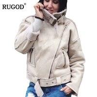 Womens Winter Jackets and Coats Biker Jacket Suede Leather Jacket Lamb Fleece Coat Patchwork Turn down Collar