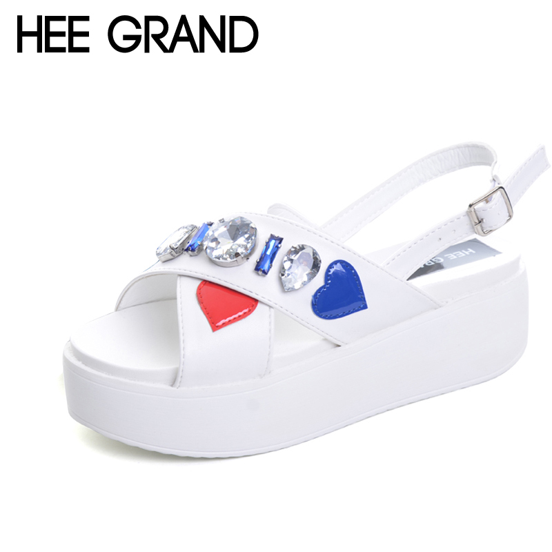 HEE GRAND Crystal Gladiator Sandals 2017 New Creepers Platform Flats Summer Casual Sweet Buckle Shoes Woman Size 35-39 XWZ4243 wedges gladiator sandals 2017 new summer platform slippers casual bling glitters shoes woman slip on creepers