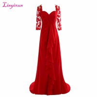 Linyixun Real Photo Red Lace Mother of the Bride Dresses 2017 Elegant Half Sleeve Chiffon Pleat Evening Dress Mother Bride Gown