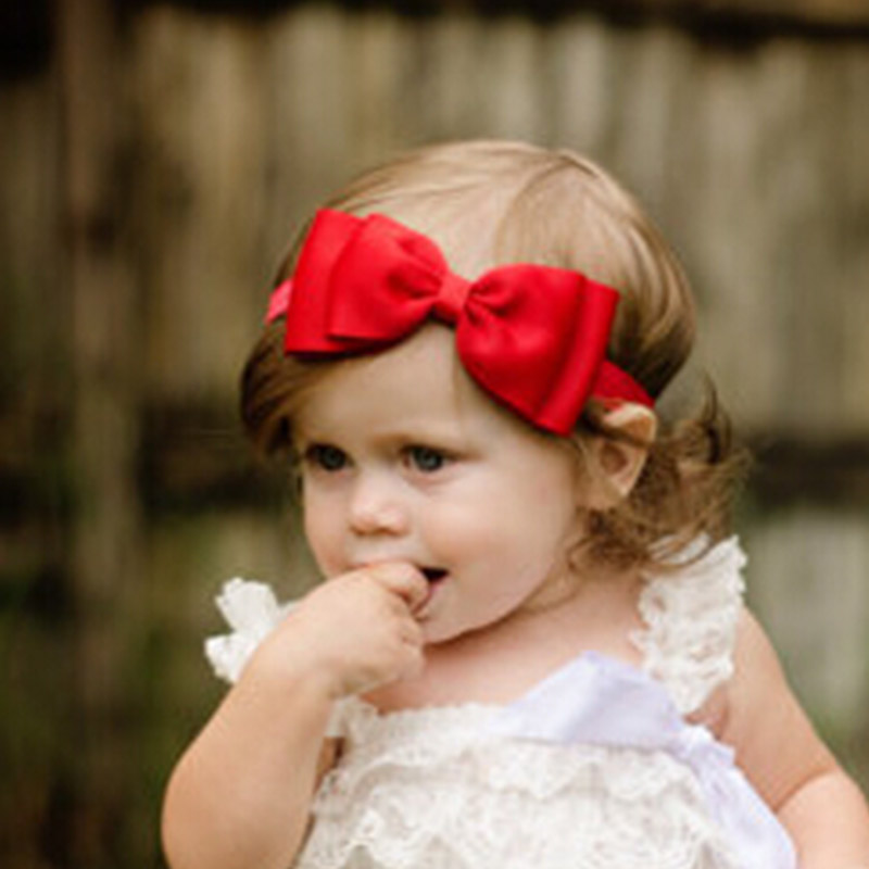 Newborn Headband Double Bow Head Wraps Big Bow Hair Bands