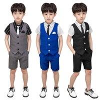 LUOBOBEIBEI Boy Child Summer Costume Wedding Suit 3 Pieces Shorts Sets Suit Baptism Kids Blazer School Boys Suits