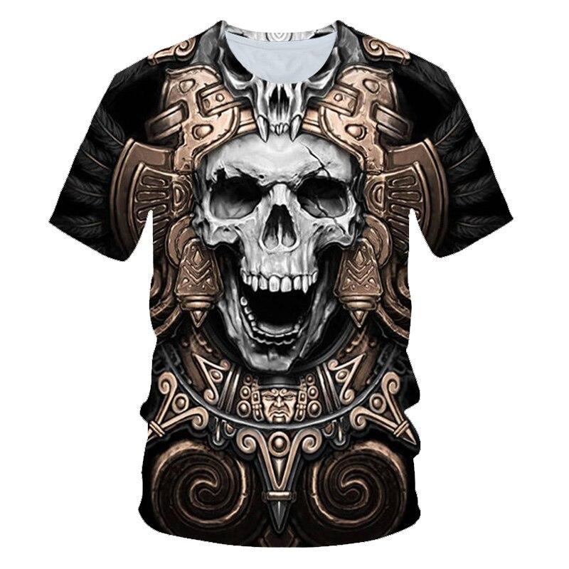 New Hot Men's Summer Skull Poker Print Men's Short-sleeved T-shirt 3D T-shirt Casual Breathable Season Hip-hop Brand T-shirt 6XL