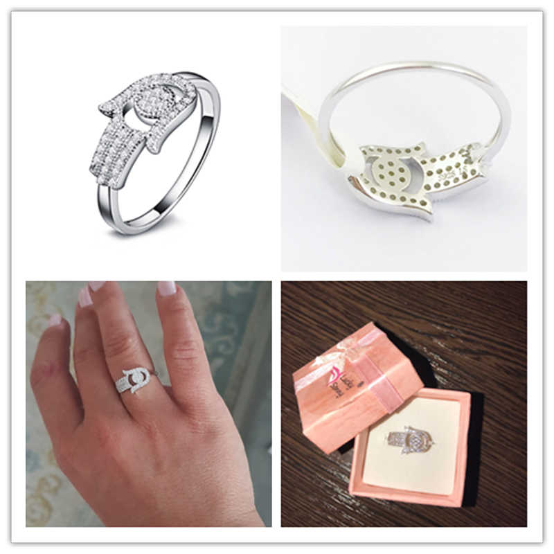Bague en argent Sterling OMYFUN Real 925 Hamsa avec bijoux Fatima et bagues en argent avec Micro CZ pavé