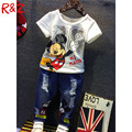 Retail 2016 summer new Boys Mickey Clothing Sets Children Cartoon Cotton Short Sleeve T Shirt+ Jeans 2pcs Suit Kids Clothes